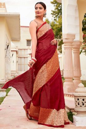 Maroon Cotton Saree In Jacquard Border Work