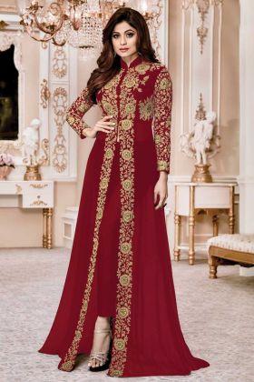 Maroon Festive Wear Faux Georgette Designer Suit