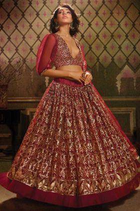 Maroon Heavy Designer Lehenga Choli In Soft Net For Wedding