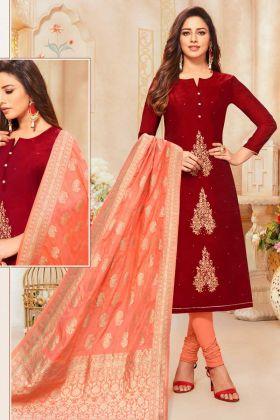 Maroon Modal Silk Semi Stitched Salwar Suit