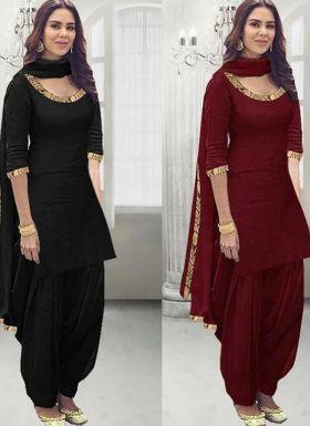 Maroon Patiala Salwar Suit For Women