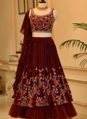 Maroon Thread Embroidered Lehenga Choli