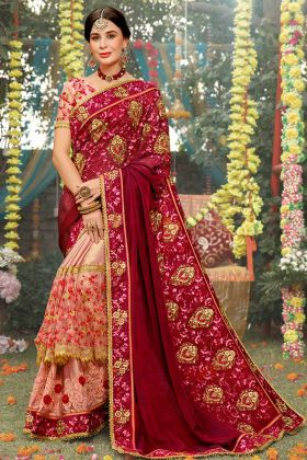 Maroon and Baby Pink Color Silk Slub Wedding Saree With Stone Color