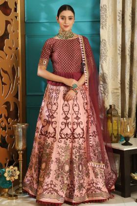 Maroon and Pink Panelled Lehenga Choli In Silk