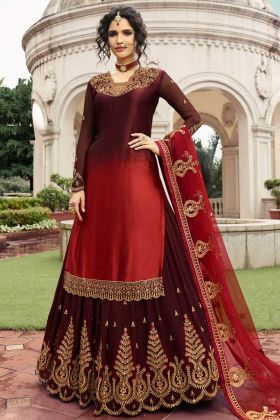 Maroon and Red Color Indo Western Dress With Resham Embroidery Work