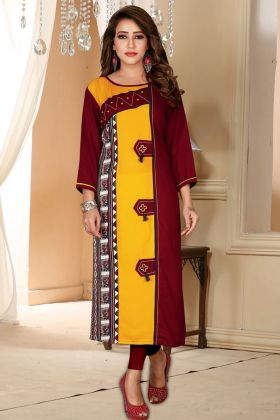 Maroon and Yellow Rayon Printed Kurti