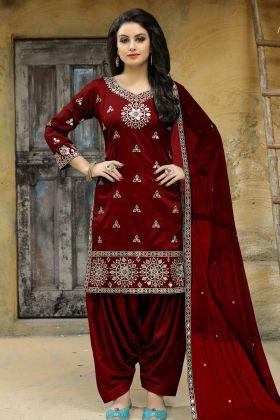 Maroon Art Silk Punjabi Suit