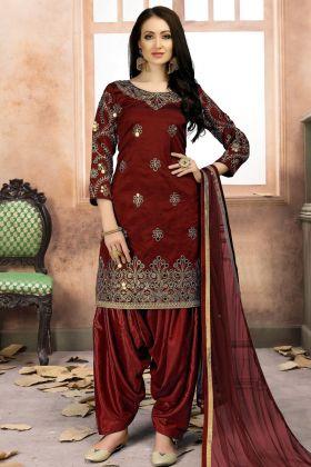 Maroon Art Silk Punjabi Suit With Dupatta