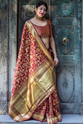 Maroon Banarasi Silk Traditional Woven Work Saree