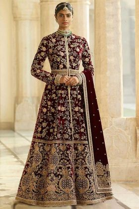 Maroon Color Anarkali Salwar Suit With Moti Work
