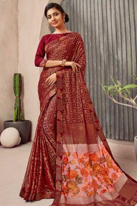 Maroon Color Chiffon Daily Wear Saree