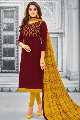 Maroon Color Cotton Dress Material With Resham Embroidery Work