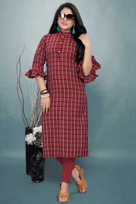 Maroon Color Cotton Kurti With Printed Work