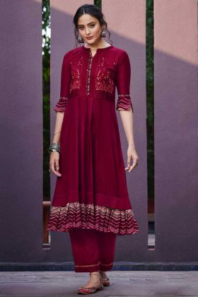 Maroon Color Cotton Satin Designer Palazzo Kurti Set