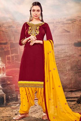 Maroon Color Cotton Silk Patiala Salwar Suit With Zari Embroidery Work