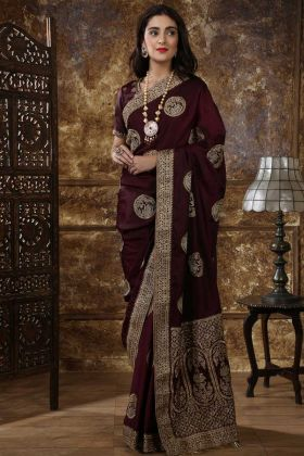 Maroon Color Embroidery Stylish Silk Wedding Saree
