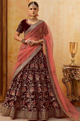 Maroon Color Embroidery Work Velvet Bridal Lehenga Choli