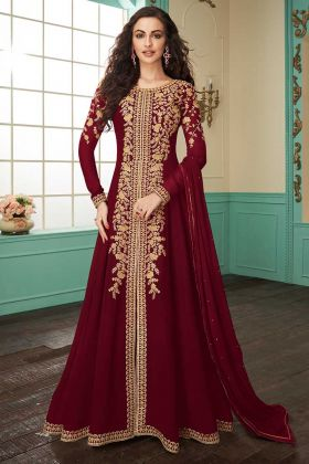 Maroon Color Faux Georgette Pant Style Salwar Suit With Chiffon Dupatta