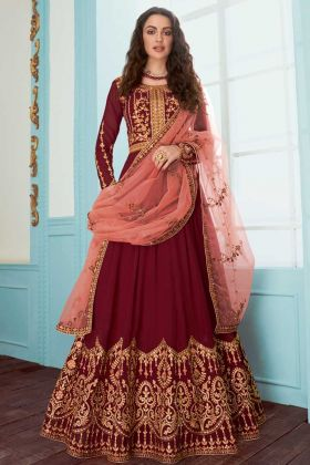 Maroon Color Georgette Anarkali Salwar Suit With Embroidery Work