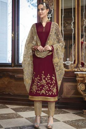 Maroon Color Georgette Pant Style Salwar Kameez With Net Dupatta