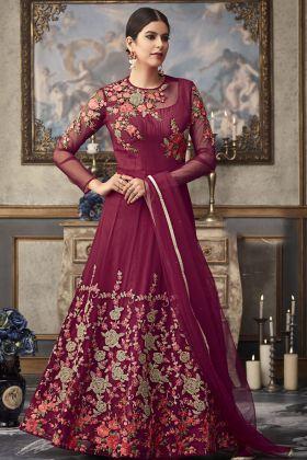 Maroon Color Heavy Anarkali Suit
