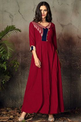 Maroon Color Heavy Rayon Kurti With Embroidery Work