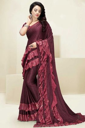 Maroon Color Imported Fabric Designer Ruffle Saree With Swarovski Work