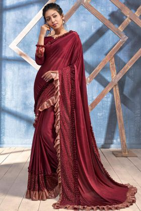 Maroon Color Imported Heavy Lycra Ruffle Saree With Embroidery Work