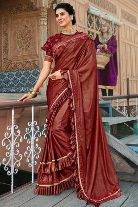 Maroon Color Lycra Ruffle Saree With Coding Embroidery Work