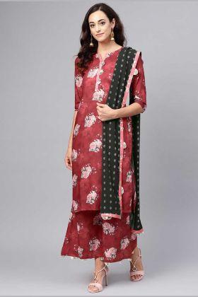 Maroon Color Muslin Fabric Casual Palazzo Salwar Kameez