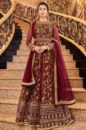 Maroon Color Net Anarkali Suit With Bottom Art Silk