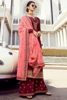 Maroon Color Pure Satin Georgette Salwar Suit In Swarovski Work