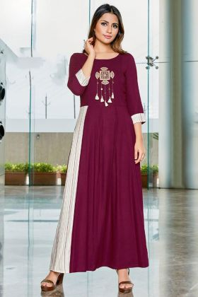 Maroon Color Rayon Slub Printed Kurti With Embroidery Work