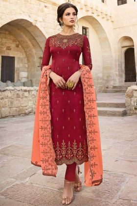Maroon Color Satin Georgette Pant Style Dress With Embroidery Work