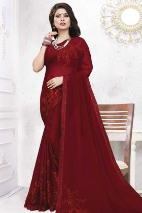 Maroon Color Satin Georgette Wedding Sareee With Coding Work