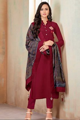 Maroon Color Soft Cotton Churidar Dress With Printed Work