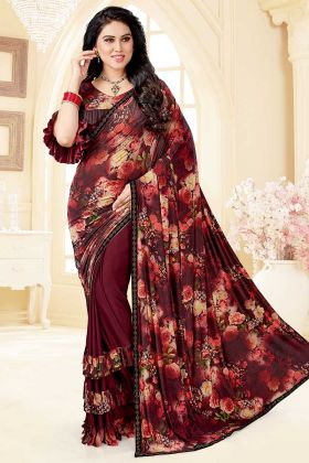 Maroon Color Soft Silk and Lycra New Year Party Wear Ruffle Saree With Thread Work