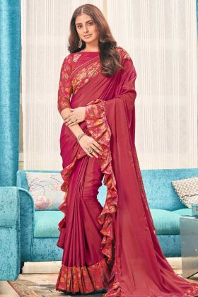 Maroon Color Soft  Silk Ruffle Wedding Saree