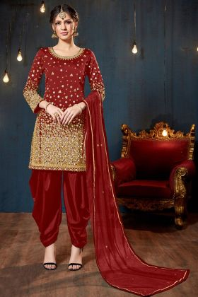 Maroon Color Tafeta Silk Patiala Salwar Suit