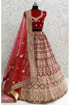 Maroon Color Velvet Bridal Lehenga