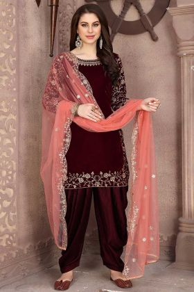 Maroon Color Velvet Patiala Salwar Suit With Net Dupatta