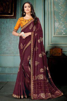 Maroon Color Vichitra Silk Wedding Saree With Embroidery Work