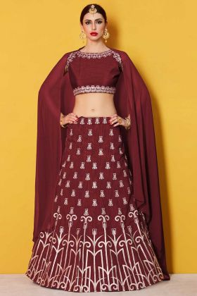 Heavy Work Velvet Silk Maroon Wedding Lehenga Choli