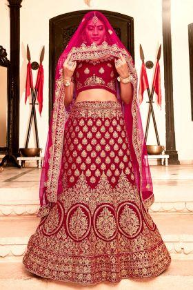 Maroon Designer Bridal Lehenga Choli
