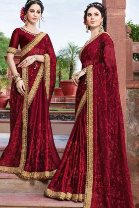 Maroon Designer Saree With Georgette Fabric