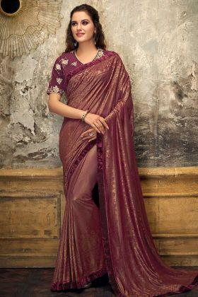 Maroon Embossed lycra Designer Saree For Cocktail Party