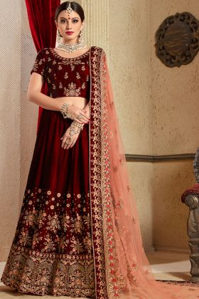 Maroon Embroidered Velvet Wedding Lehenga Choli