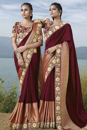 Maroon Fancy Art Silk Festive Saree Online