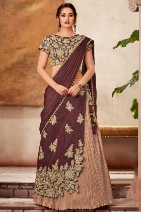 Maroon Festive Dressing Exclusive Two Layered Silk Lehenga Saree