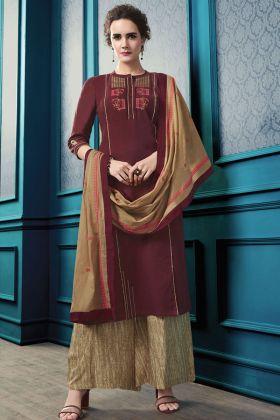 Maroon Flex Cotton Plazzo Salwar Kameez
